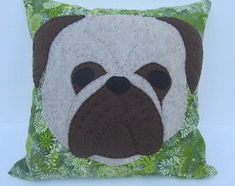 """14"""" Green Pug Pillow"""
