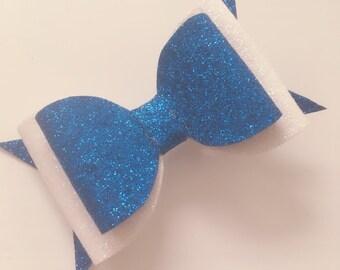 Blue & white medium bow