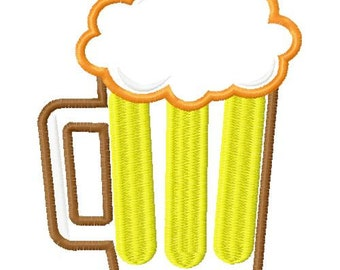 5x7 Beer mug embroidery design, beer embroidery design, beer applique design, beer mug applique