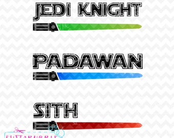 Star Wars light Sabers with Jedi Knight, Padawan & Sith - SVG cut file + PNG + DXF for Silhouette cameo, Cricut etc.