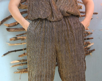 Vintage overalls, disco, club, gold overalls, gold women's dress, 80's, 2 love by Tony Cohen