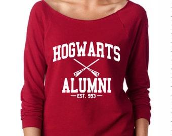 Hogwarts Alumni wideneck / off the shoulder 3/4 sleeve lightweight sweatshirt - Harry Potter gift