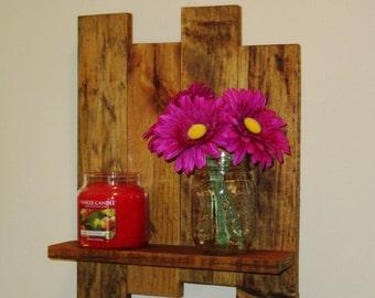 Reclaimed wood shelf, pallet wood shelf, wall shelf, Stained Wood Shelf, Candle holder