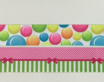 Bows and Bubbles on Grosgrain Ribbon, 2.5cm width.