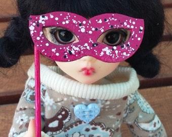 BJD mask dark pink and glitter