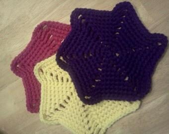 Crochet Wash Cloths - 3 Wash Cloths - Colorful Wash Cloths - Pinwheel Wash Cloths - Fun Wash Cloths