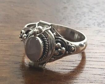 Rose Quartz 925 Sterling Silver Locket Ring- Size R / S