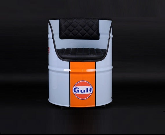 gulf oil drum seat chair le mans edition. Black Bedroom Furniture Sets. Home Design Ideas