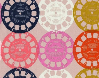 Retro Fabric | Pink | Viewfinder Fabric | Cotton + Steel Fabric | Retro Print | Melody Miller | Circle Patterns
