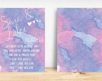 Printable DIY Purple/Blue Watercolour Engagement Party Invitations