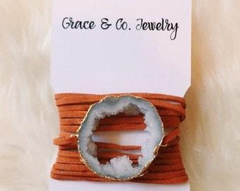 drusy wrap bracelet | white on burnt orange