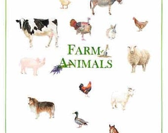 Farm Animals, watercolour,print,drawing and illustration,country,horse,cow,rabbit,rooster,painting,children,gift,kid room,wall decoration