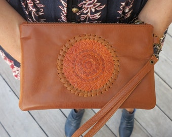 GYPSY Women Tan Leather Clutch / Suede / Hand Tooled / Brass Zipper with card holder /  leather wallet / Leather Purse / Bohemian