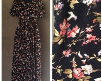 Vintage 1990s All That Jazz Button Black Floral Rayon Summer Maxi Dress S/M
