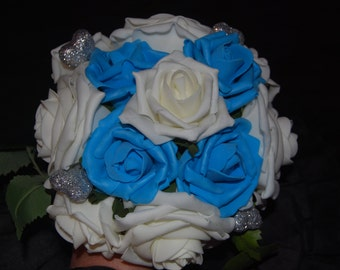 Ivory and turquoise bridal bouquet