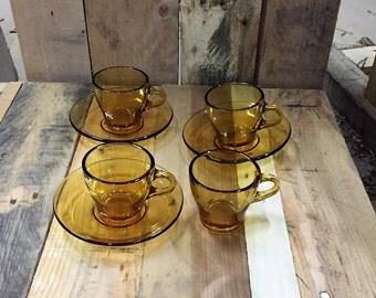 Vintage set of Three (3) Bormioli Vitrosax- Italy Espresso Cups x 3 and Saucer (+1 extra cup) / Vintage Amber Glassware
