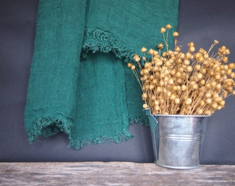 Linen Green Scarf, Linen Women Accessories, Linen Gift