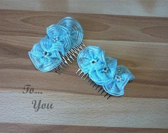 Blue Organza Flower Hair Comb (1 Piece)