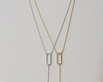 Y-shaped Necklace With Rectangular Pendant