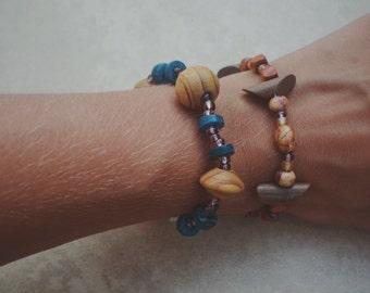 Wood stretch bracelets