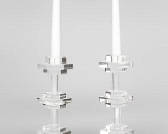 Acrylic/Lucite Clear Tri-Level Modern Candlestick (sold as pair)