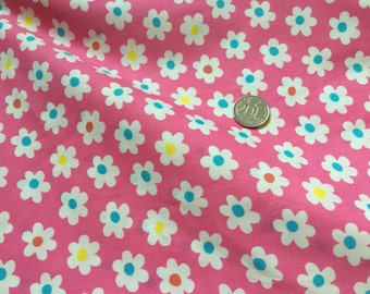 White Daisy on Pink 100% Cotton Fabric