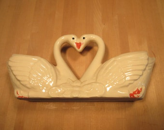 ON SALE! - Double ceramic swan planter