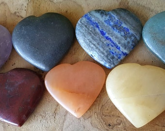 7 Chakra Crystal Heart Stone Set  - Perfect for Grids ~ 616