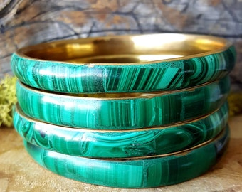Polished Malachite Crystal Bangle   - 394