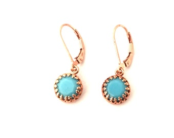 Turquoise and rose gold earrings, turquoise earrings , turquoise drops, under 50, boho earrings, sister gift, 30th birthday, boho, Australia