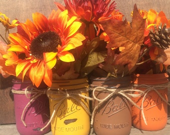 Fall inspired mason jars