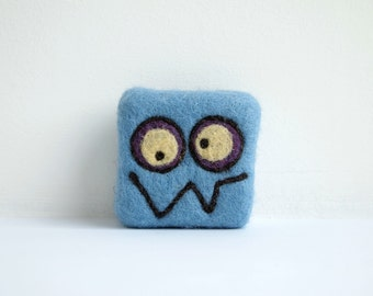 Felted soap - mid blue