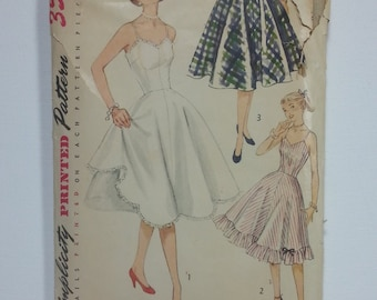 Vintage 1951 Slip and Petticoat Simplicity 3766 Sewing Pattern