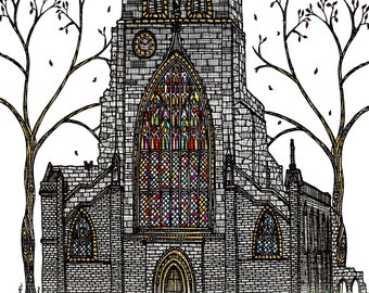 Shrewsbury Abbey: Signed quirky and stylised illustration/art print of a historic building.