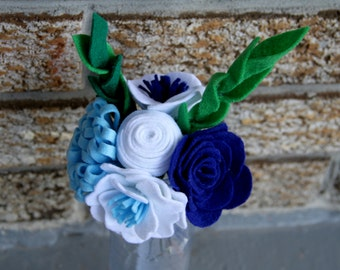 Blue & White Felt Bouquet