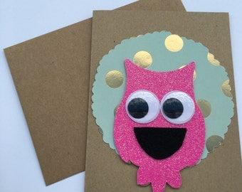 Owl googly eyes card