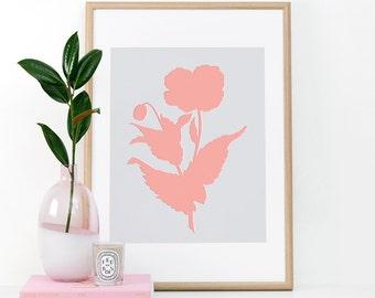 Botanical Silhouette, Printable Wall Art, Wall Art, Digital Download, Minimal art print, Flower, Pink and Grey, Screen print art