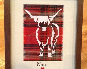 Handmade Tartan Highland Cow Picture