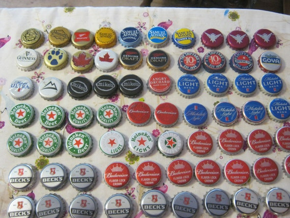 100 various beer bottle caps recycled crafts jewelry for Can beer bottle caps be recycled