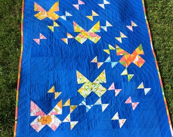 Butterfly quilt, vintage sheet butterfly quilt, modern improv quilt, lap quilt, throw quilt, quilted throw, baby quilt, toddler quilt