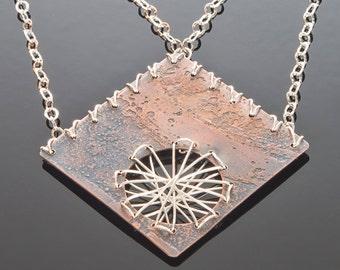 Copper Diamond Etched Dream Catcher Necklace