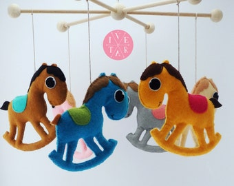 Rcking-Horse Baby Mobile, Baby Crib, Baby Room decor