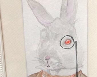 THE WHITE RABBIT Watercolor Print, 8x10 Giclee Archival Print, Rabbit Art, Alice in Wonderland Art