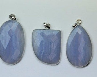 3 PENDANT of Blue Lace Agate 32 -- 39 mm