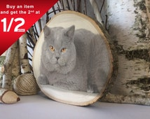 Cat Art Custom Photo on Wood Eco Friendly Gifts, Engagement Gifts for Couple Home Decor Wood Signs Present for Groom, Her
