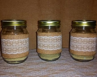 Mason Jars wrapped in burlap and lace