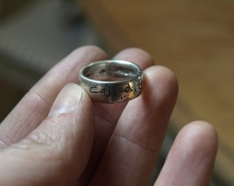 Hand Inscribed Cast Silver Ring