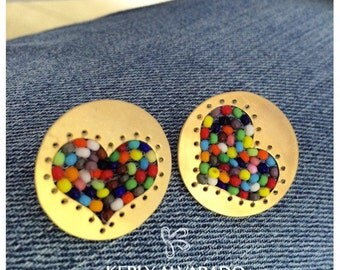 Beaded heart buttons