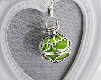 Harmony Cage MAI with Green Bola Ball Pendant & Necklace - Pregnancy Maternity Chiming Baby Mum to Be