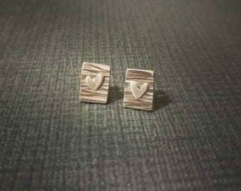 Handmade Sterling Silver textured earrings with heart